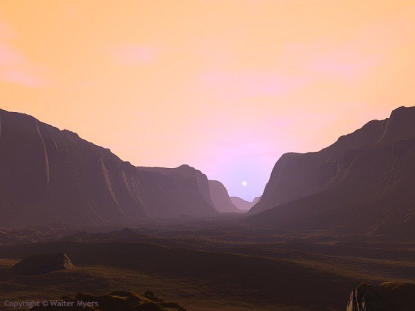mars canyon sunrise
